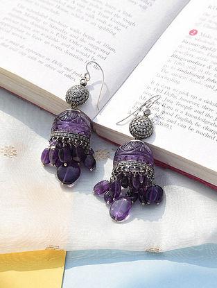 Silver Diamond Earrings with Amethyst