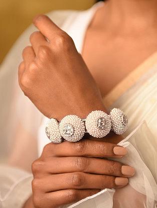 Silver Pukhraj Bracelet with Pearls