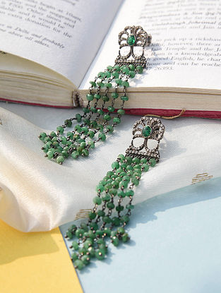Silver Emerald Earrings With Pearls