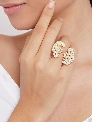 Gold Tone Handcrafted Adjustable Ring With Pearls