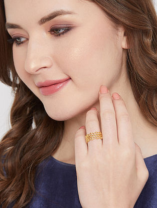 Gold Tone Handcrafted Ring (Size-6)
