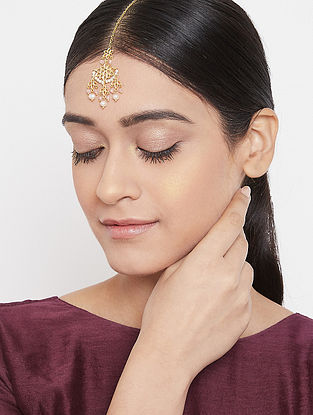 Gold Tone Handcrafted Maangtikka With Pearls