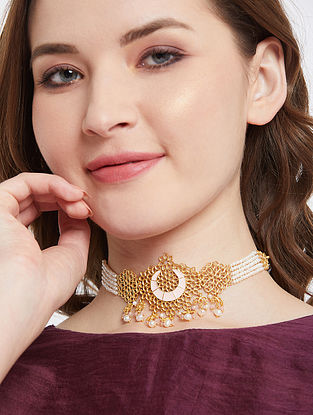 Gold Tone Enameled Beaded Necklace With Pearls