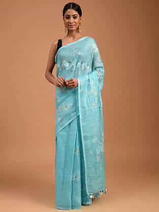 Blue Handwoven Linen Saree with Embroidery