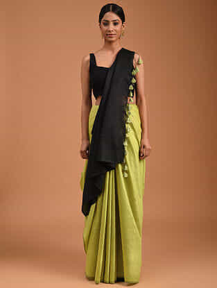 Yellow Handwoven Cotton Silk Saree