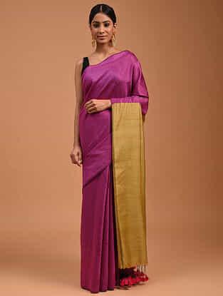 Purple Handwoven Cotton Silk Saree