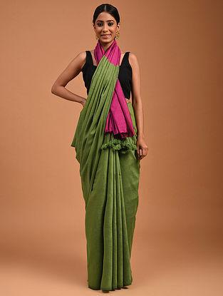 Green Handwoven Cotton Silk Saree