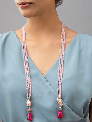 Pink Beaded Layered Necklace With Agate Pearls And Zirconia