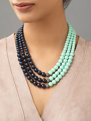 Turquoise Black Beaded Layered Necklace With Zirconia And Pearls