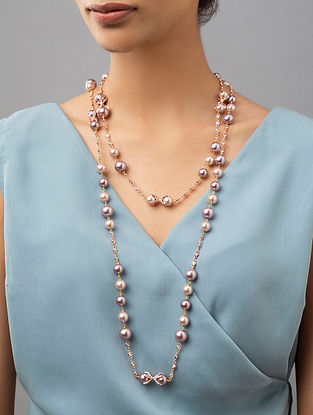 Pink Gold Tone Beaded Necklace With Pearls And Zirconia