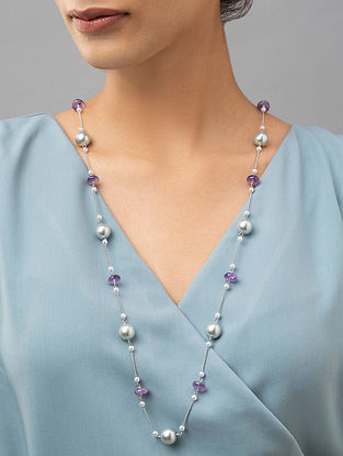 Purple Silver Tone Beaded Necklace With Amethyst And Pearls