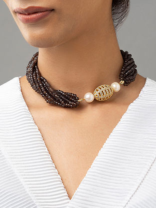 Black Beaded Necklace With Agate Pearls And Zirconia