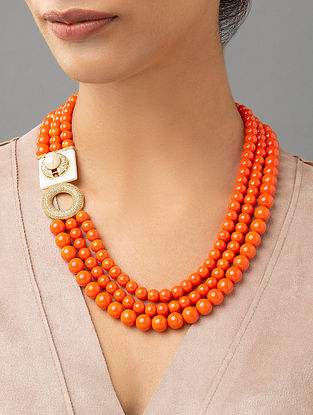 Orange Beaded Layered Necklace With Coral Mother Of Pearl And Zirconia