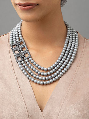 Grey Beaded Layered Necklace With Pearls And Zirconia