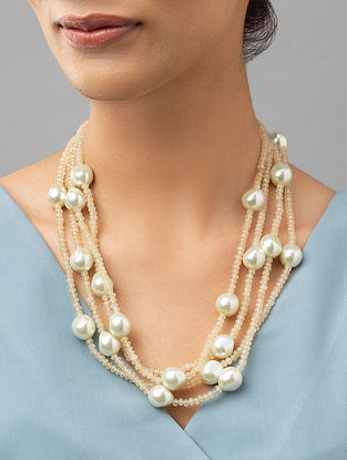 Yellow White Pearl Beaded Necklace With Agate