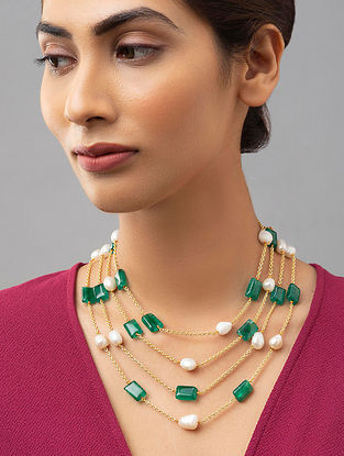 Green White Gold Tone Pearl Beaded Necklace With Jade