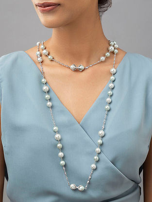 White Silver Tone Pearl Beaded Necklace With Zirconia