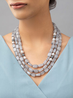 Grey Beaded Layered Necklace With Agate Zirconia And Pearls