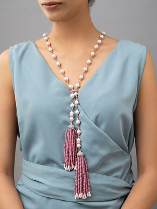 White Pink Pearl Beaded Necklace With Pearls Agate And Zirconia