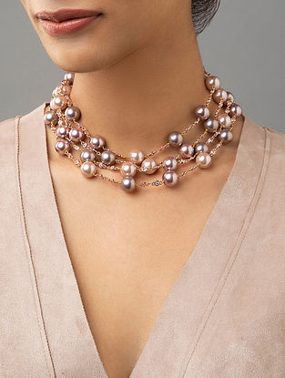 Pink Beaded Layered Necklace With Pearls And Zirconia
