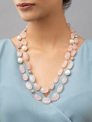 Pink Beaded Layered Necklace With Rose Quartz Pearls And Crystals