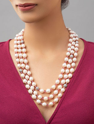 White Pearl Beaded Layered Necklace With Agate And Zirconia