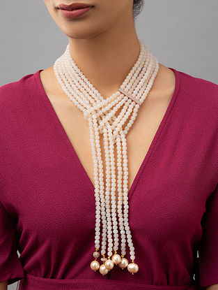 White Beaded Layered Necklace With Agate Zirconia And Pearls
