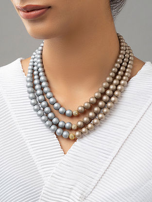 Grey Brown Beaded Layered Necklace With Pearls And Zirconia