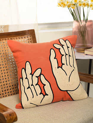 White and black Mudra Embroidered on Orange Cotton Canvas Cushion Cover (L- 16in, W- 16in)