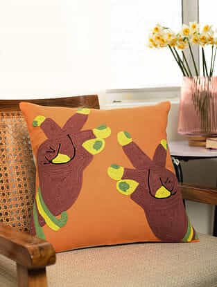Rust Mudra Stitched on Orange Cotton Canvas Cushion Cover (L- 16in, W- 16in)