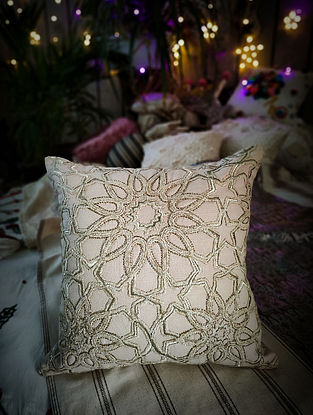 Embroidered Cotton Cushion Cover (L- 16in x W- 16in)