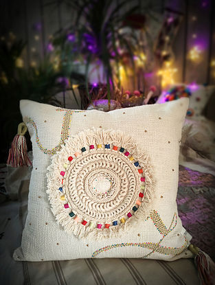 Embroidered Cotton Cushion Cover (L- 18in x W- 18in)