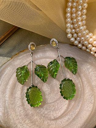Green Gold Tone Silver Earrings