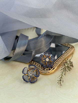 Grey Floral Silver Earrings