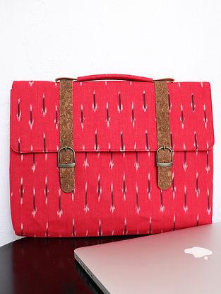 Red Ikat Cork Leather Laptop Bag