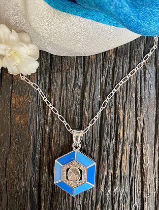 Blue Polki Diamond Silver Pendant