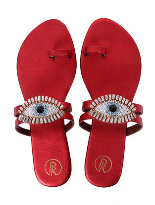 Red Handcrafted Faux Leather Flats