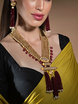 Red Gold Tone Beaded Necklace And Earrings With Agate And Pearls