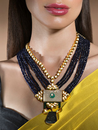 Blue Gold Tone Kundan Beaded Necklace With Agate And Onyx
