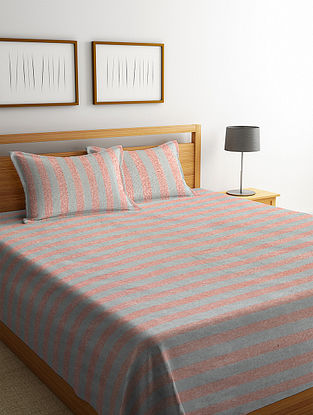 Grey Cotton Double Bed Cover with 2 Pillow Covers (L-100in, W- 90in)