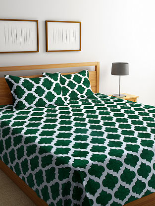 Green Cotton Double Bed Cover with 2 Pillow Covers (L-100in, W- 90in)