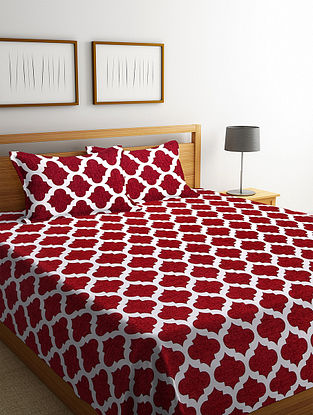 Maroon Cotton Double Bed Cover with 2 Pillow Cover (L-100in, W- 90in)