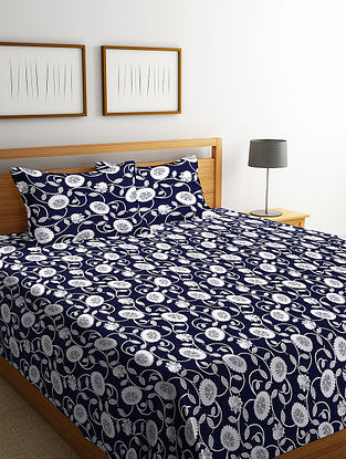 NavyBlue Cotton Double Bed Cover with 2 Pillow Cover (L-100in, W- 90in)