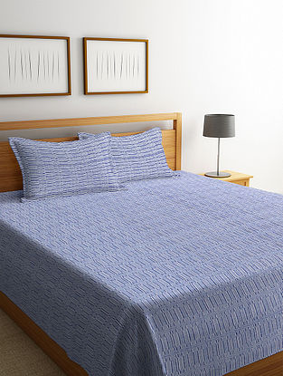 Blue Cotton Double Bed Cover with 2 Pillow Cover (L-100in, W- 90in)
