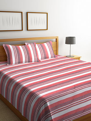Red Cotton Double Bed Cover with 2 Pillow Cover (L-100in, W- 90in)