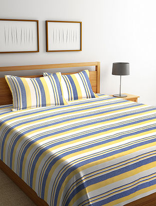 Yellow Cotton Double Bed Cover with 2 Pillow Cover (L-100in, W- 90in)