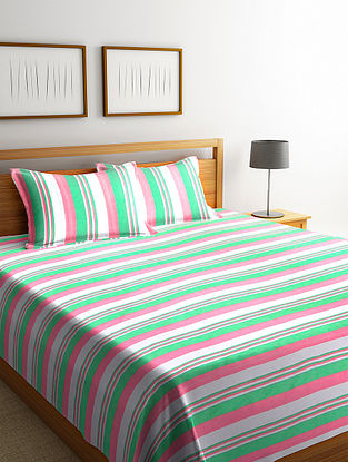 Green Cotton Double Bed Cover with 2 Pillow Cover (L-100in, W- 90in)