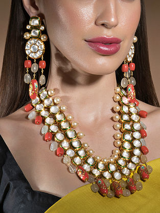 Orange Gold Tone Kundan Beaded Necklace And Earrings With Pearls And Coral