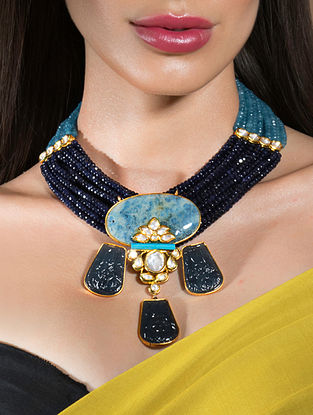 Blue Gold Tone Beaded Kundan Necklace With Agate Onyx And Turquoise