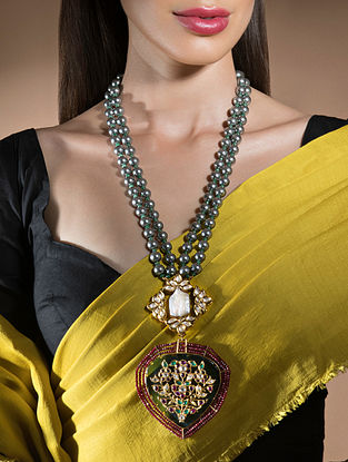 Grey Red Gold Tone Beaded Kundan Necklace With Pearls And Onyx